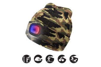 (Camouflage Green, 1PCS) - ATNKE Bright LED Lighted Beanie Cap Unisex Rechargeable Headlamp Hat Red and Blue Glow Flashing Alarm Headlamp Multi-Colour