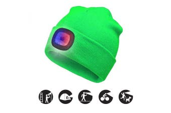 (Fluorescent green, 1PCS) - ATNKE Bright LED Lighted Beanie Cap Unisex Rechargeable Headlamp Hat Red and Blue Glow Flashing Alarm Headlamp Multi-Colour