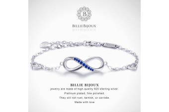 (A-blue) - Billie Bijoux Womens 925 sterling Silver Infinity Endless Love Symbol Charm Adjustable Women's Bracelet for Mother's Day