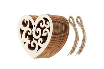 Chengu 20 Pieces Heart Shaped Wooden Hanging Ornament Wood Hearts Embellishments Craft for Wedding Valentine's Day Gift