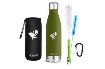(Forest green, 750ml) - Aorin Vacuum Insulated Stainless Steel Water Bottle - 24 hrs Cooling & 12 hrs Keep Warm. Powder coating Scratch resistance Easy to clean.