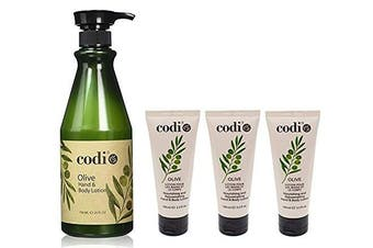 Codi Olive Hand and Body Lotion Big and 3 Small Kit, 750ml/25oz + 3.3oz/100ml (kit of 4)