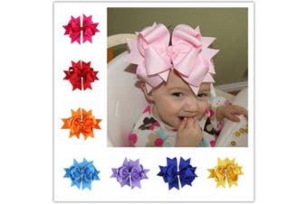 Bzybel 12 Pcs Little Girl's 19cm Boutique Spike Big Hair Bow Clips Grosgrain Ribbon Alligator Clips Headwear with Free Crochet Headbands for Baby Shower Gift 12 Colours