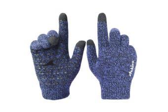 (Medium, Blue) - Achiou Winter Knit Gloves Touchscreen Warm Thermal Soft Wool Lining Elastic Cuff Texting Anti-Slip 3 Size Choice for Women Men