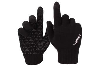 (Large, Black) - Achiou Winter Knit Gloves Touchscreen Warm Thermal Soft Wool Lining Elastic Cuff Texting Anti-Slip 3 Size Choice for Women Men