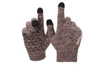 (Large, Coffee & White) - Achiou Winter Knit Gloves Touchscreen Warm Thermal Soft Wool Lining Elastic Cuff Texting Anti-Slip 3 Size Choice for Women Men