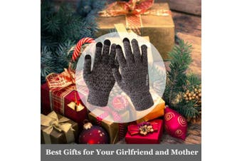 (X-Large, Black & White) - Achiou Winter Knit Gloves Touchscreen Warm Thermal Soft Wool Lining Elastic Cuff Texting Anti-Slip 3 Size Choice for Women Men