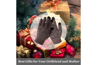 (Medium, Coffee & White) - Achiou Winter Knit Gloves Touchscreen Warm Thermal Soft Wool Lining Elastic Cuff Texting Anti-Slip 3 Size Choice for Women Men