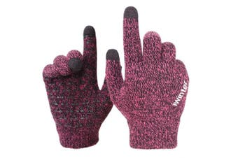 (Medium, Rose Red) - Achiou Winter Knit Gloves Touchscreen Warm Thermal Soft Wool Lining Elastic Cuff Texting Anti-Slip 3 Size Choice for Women Men