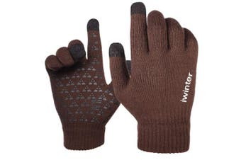 (X-Large, Coffee) - Achiou Winter Knit Gloves Touchscreen Warm Thermal Soft Wool Lining Elastic Cuff Texting Anti-Slip 3 Size Choice for Women Men