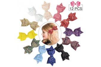 (Sequin Clip, Sequin 5in/12PCS) - 13cm Glitter Bows Big Hair Clips Boutique 12pcs Sparkly Sequin Alligator Clips Barrette Hair Accessory for Baby Girls women Toddlers
