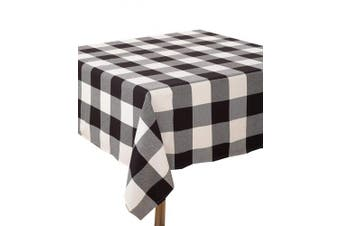 (230cm  x 230cm  Tablecloth, Black) - Fennco Styles Holiday Buffalo Cheque Plaid Cotton Tablecloth (Black, 230cm x 230cm Tablecloth)