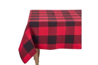 (230cm  x 230cm  Tablecloth, Red) - Fennco Styles Holiday Buffalo Cheque Plaid Cotton Tablecloth (Red, 230cm x 230cm Tablecloth)