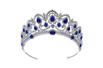 (Blue) - 7 colour WINGS Luxury Crystal Baroque Royal Tiara Rhinestone Crystal Crown Bridal Wedding Crown Princess Tiara Headbands Hair Accessories for Women Bridal Party Birthday Headpieces (Blue)