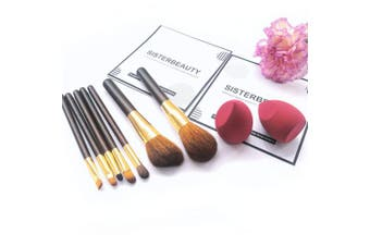 (7Brush+2Sponge) - Sisterbeauty Makeup Brush Set,Microfiber Velvet Sponge,Soft Goat Hair mix Synthetic Fibre Thickened Golden Tube Cosmetic Brushes Kit,Flawless Makeup Blender (7PCS Makeup Brushes+2PCS Makeup Sponges)