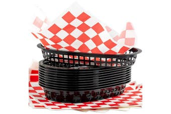 (12, black basket, red paper) - Retro Style Black Fast Food Basket (12Pk) and Red Chequered Deli Liner (120Pk) Combo. Classic 28cm Deli Baskets Are Microwavable and Dishwasher Safe. Disposable Deli Paper Squares for Easy Cleanup