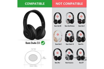 (Black for Studio 2.0) - Geekria Earpads for Beats by Dr. Dre Studio 2.0 (2nd Gen Bluetooth) Headphone Replacement Ear Pad / Ear Cushion / Ear Cups / Ear Cover / Earpads Repair Parts (Black)