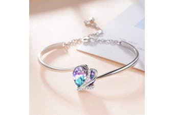 Sterling Silver Love Heart Adjustable Bangle Bracelet for Women with Purple Crystals from , Jewellery Gifts for Mum Wife Girlfriend