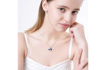 (Butterfly (C)) - Sterling Silver Butterfly Pendant Necklace with Blue Crystals, Jewellery Gifts for Women