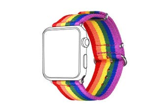 (for 42MM/44MM, Rainbow pattern) - Bandmax Compatible Rainbow Apple Watch Bands LGBT, Comfortable & Durable iwatch Sport Straps Nylon Replacement Wristband Accessories with Metal Buckle Compatible Apple Watch Series 4/3/2/1 42MM 44MM