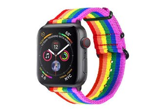 (for 38MM/40MM, Rainbow pattern(black buckle)) - Bandmax Compatible Rainbow Apple Watch Bands LGBT, Comfortable & Durable iwatch Sport Straps Nylon Replacement Wristband Accessories Compatible Apple Watch Series 4/3/2/1 38MM 40MM (Black Metal Buckle)