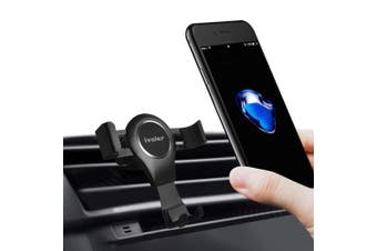 (Matte Black) - Gravity Car Phone Mount, iVoler Hands Free Auto Lock One Handed Air Vent Cradle Auto Release Cell Phone Holder One-Handed Design Compatible iPhone Xs MAX X 8 7 6 Plus Samsung S9 S8 S7 Note Matte Black
