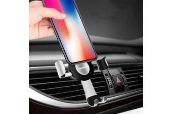 (Silver) - Gravity Car Phone Mount, iVoler Hands Free Auto Lock One Handed Air Vent Cradle Auto Release Cell Phone Holder One-Handed Design Compatible iPhone Xs MAX X 8 7 6 Plus Samsung S9 S8 S7 Note Silver