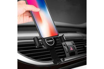 (Black) - Gravity Car Phone Mount, iVoler Hands Free Auto Lock One Handed Air Vent Cradle Auto Release Cell Phone Holder One-Handed Design Compatible iPhone Xs MAX X 8 7 6 Plus Samsung S9 S8 S7 Note Black