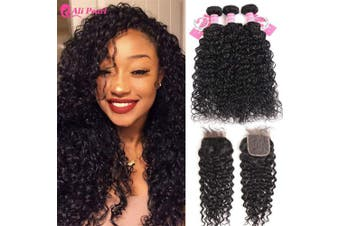(10 12 14+25cm  closure) - AliPearl Water Wave Hair Weave 3 Bundles with Closure Unprocessed Brazilian Virgin Human Hair Natural Wave Frontal with Bundles Grade 8A Natural Colour Remy Hair Extension (10 12 14+25cm closure)