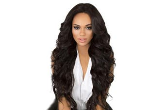 (Brown 8038) - BARSDAR 70cm Brown Long Wavy Curly Wig Rose Net Full Head Wigs for Women Side Part Heat Resistant Synthetic Wigs with Light Bangs (8038)