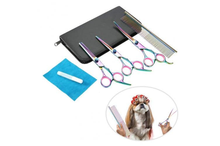 4pcs Professional Dog Hair Thinning Scissors Set, Super Sharp Stainless Steel Scissors, Cat Sharp Scissors Pet Grooming Scissors Kit Thinning Shears for All Dogs Cat Cutting with Grooming Comb