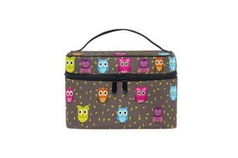 ZOEO Owl Makeup Bag Overnight Makeup Train Case Korean Carrying Portable Zip Travel Cosmetic Brush Bag Organiser Large Jewellery Storage for Girls Women