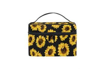 (Sunflower 1) - ZOEO Makeup Train Case Sunflower Black Pattern Korean Carrying Portable Zip Travel Cosmetic Brush Bag Organiser Large for Girls Women