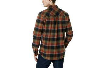 (Large, HOF110-ORR) - CQR Men's Flannel Long Sleeved Button-Up Plaid 100% Cotton Brushed Shirt HOF110