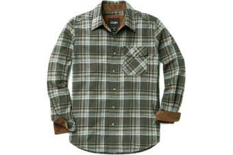 (Small, HOF110-JNP) - CQR Men's Flannel Long Sleeved Button-Up Plaid 100% Cotton Brushed Shirt HOF110