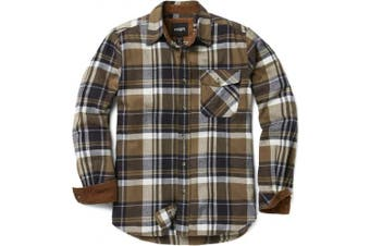 (Small, HOF110-SGE) - CQR Men's Flannel Long Sleeved Button-Up Plaid 100% Cotton Brushed Shirt HOF110