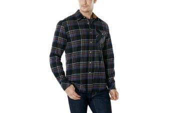 (Medium, HOF110-CMN) - CQR Men's Flannel Long Sleeved Button-Up Plaid 100% Cotton Brushed Shirt HOF110