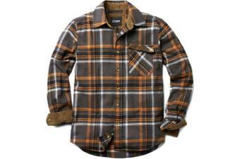 (Large, HOF110-DGY) - CQR Men's Flannel Long Sleeved Button-Up Plaid 100% Cotton Brushed Shirt HOF110