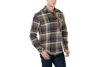(X-Large, HOF110-SGE) - CQR Men's Flannel Long Sleeved Button-Up Plaid 100% Cotton Brushed Shirt HOF110