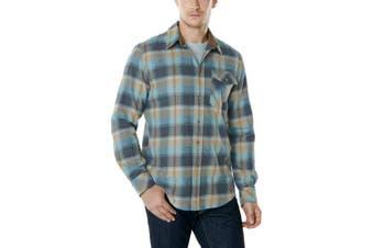 (Medium, A-CQ-HOF110-OCS) - CQR Men's Flannel Long Sleeved Button-Up Plaid 100% Cotton Brushed Shirt HOF110