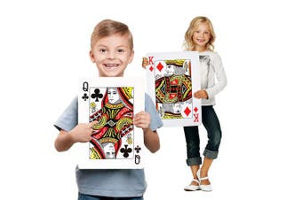 "Jumbo Plastic Coated Playing Cards - Height 37cm (14.56"") x Width 26cm (10.23"") - Full Deck Indoor and Outdoor Game . Huge Poker Index Playing Cards for Placemats, Christmas Games and Party Decoration"