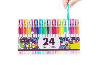 Glitter Gel Pens Aen Art 24 Colours Gel Pen Set, Coloured Fine Point Markers with 40% More Ink for Adult Colouring Books Bullet Journal Planner Drawing Doodling School Project