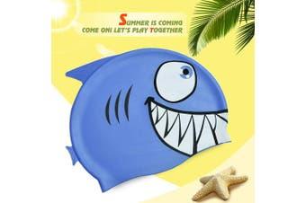 (blue shark) - Calunce Kids Cute Cartoon Critter Cap Silicone Swim Hat
