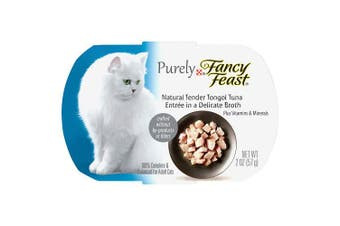 (Tongol Tuna, (10) 60ml Trays) - Purina Fancy Feast Purely Natural Entrees in a Delicate Broth Adult Wet Cat Food - (10) 60ml Trays