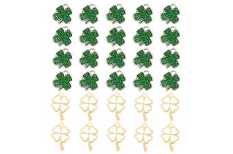 30 Pcs Lucky Four-Leaf Clover Charm Pendant Enamel Sequins Dangle Gold Plated Heart-Shaped Dainty Ornament for Necklace Bracelet Ankle Earring Jewellery DIY Making