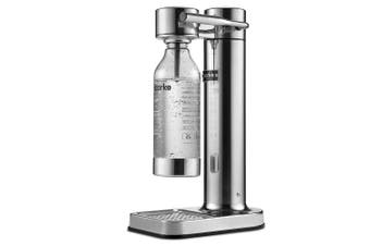 (Silver) - Aarke Carbonator II Water Carbonator, Stainless Steel Casing, Soda Water Carbonator, Including Polyethylene Terephthalate (PET) Bottle, Compatible with CO2 Sodastream Cylinders Silver
