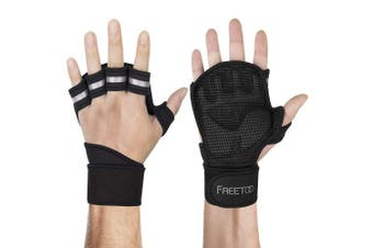 (Large, New Black) - FREETOO Men Workout Gloves with Wrist Support, Gym Gloves for Men, Weight Lifting Gloves for Sports, Gym Training, Bench Press, Dumbbells, Pull Up and Other Physical Exercises