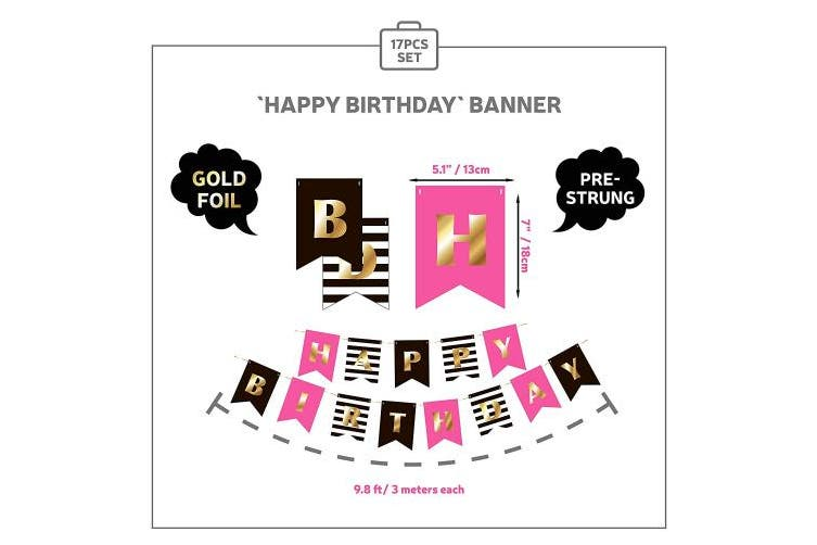 (Hot Pink Black Gold) - Premium Happy Birthday Decorations for Girls Women Party Set Kit | Hot Pink Gold Black White | Kate Spade Inspired |Banner Garland Bunting | Paper Lanterns | Honeycomb Balls | Tissue Fans| Cake Topper