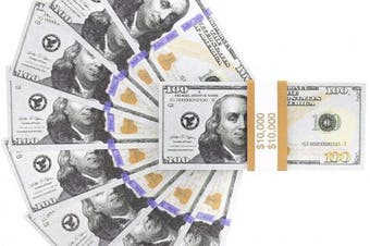 Prop $100 Dollar Bills - Fake Money Set of 100 US Notes for Film Movie TV Kids Play - $25cm Cash with Straps