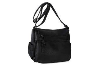 (Black) - Women's Shoulder Bag Soft Leather Casual Daypack Crossbody Handbags for Ladies - Black